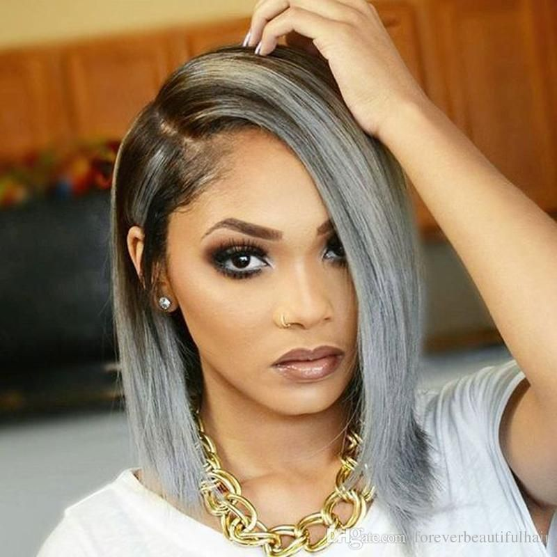 Stock Celebrity Lace Front Natural Color Grey Ombre Straight