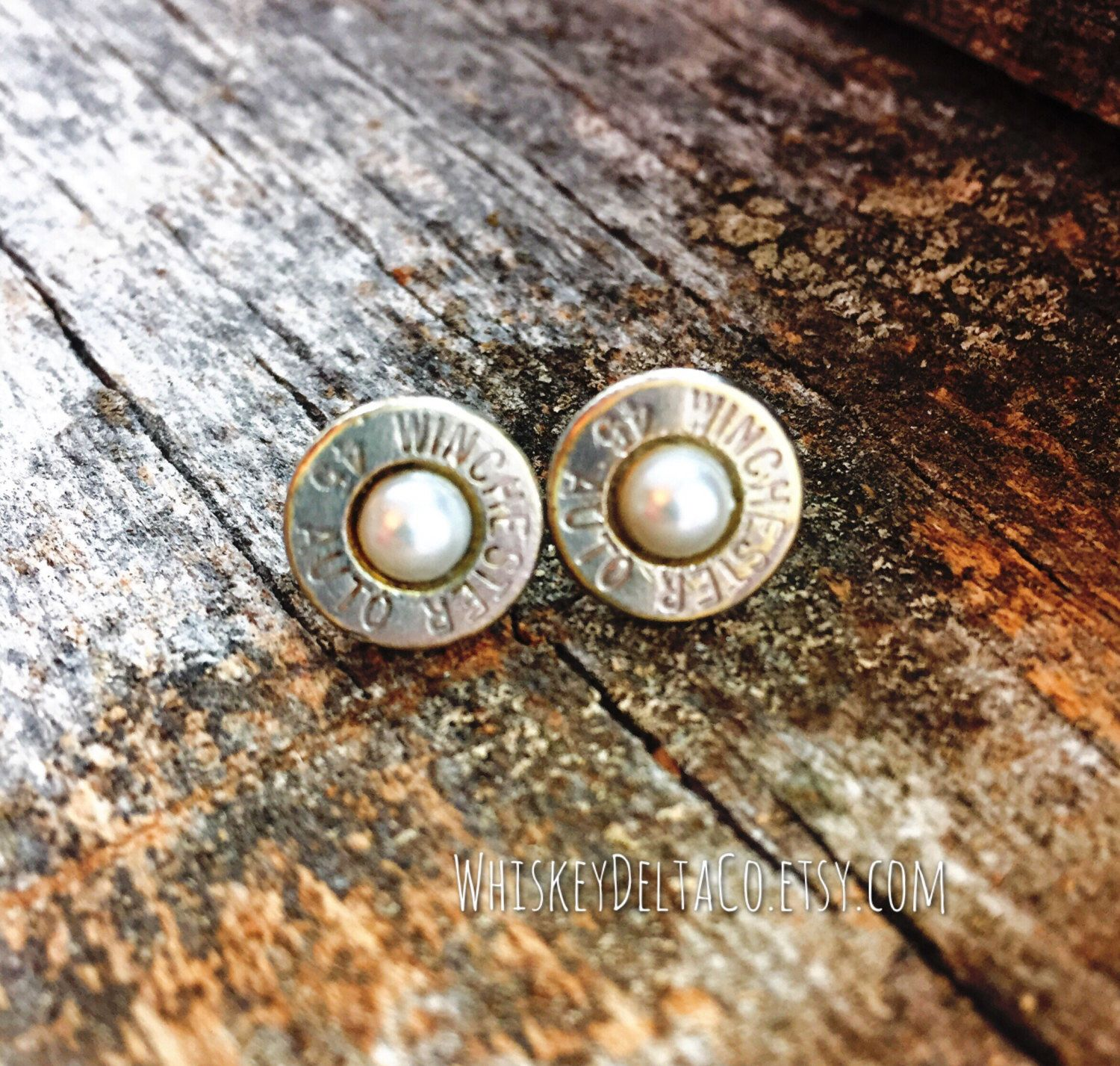 Pearl Winchester Bullet Earrings // Gift Ideas For Women // Statement Jewelry // Personalized Rustic // Anniversary Gift // June Birthstone by WhiskeyDeltaCo on Etsy https://www.etsy.com/listing/497245631/pearl-winchester-bullet-earrings-gift