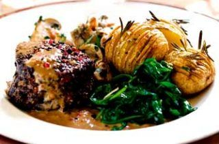 Slimming Worlds fillet steaks with mustard sauce and hasselback potatoes