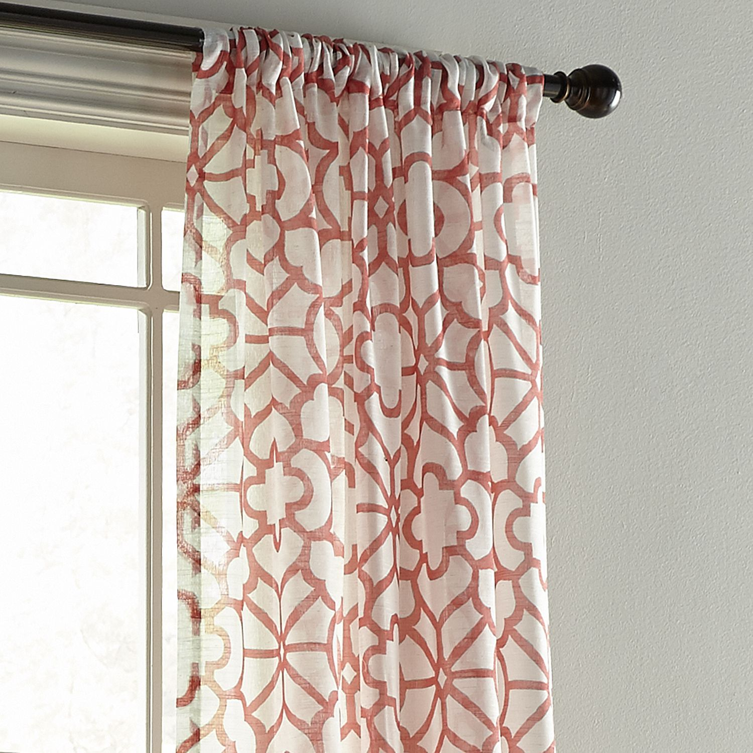 Coral Patterned Curtains Simple Design Ideas