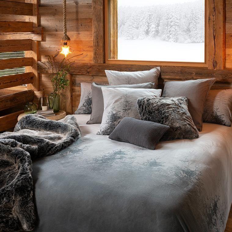Parure De Lit Percale De Coton Ietu Chalet Carre Blanc Parure De Lit Draps De Lit Deco Maison