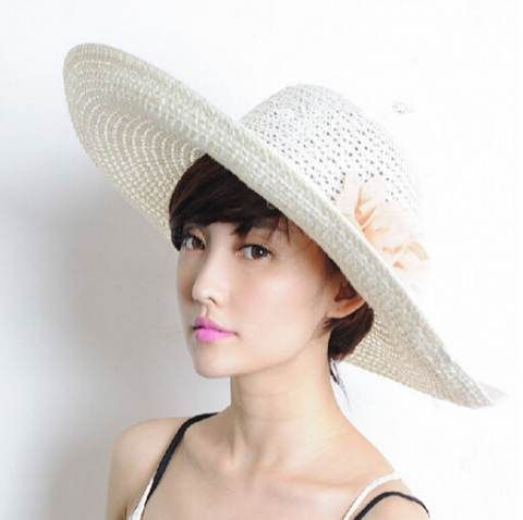 ebef1297d6d Flower wide brim straw hat for women UV protection