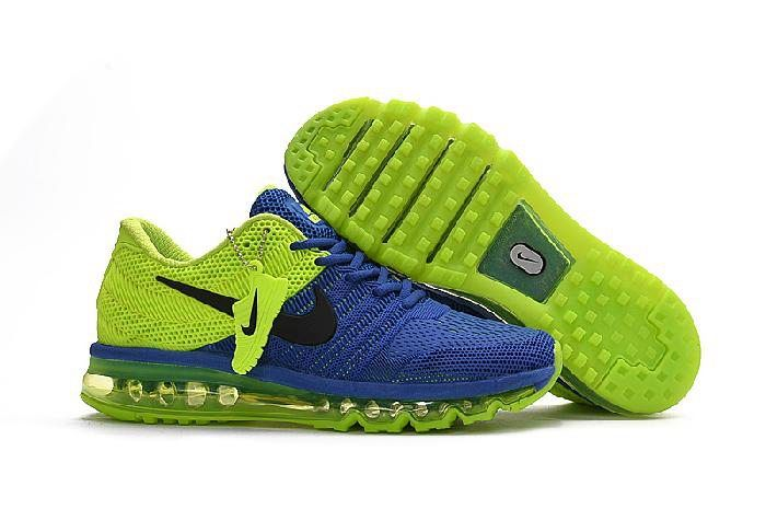 super popular 832ad c1862 Nike Air Max 2017 Blue Fluorescent Green Running Shoes