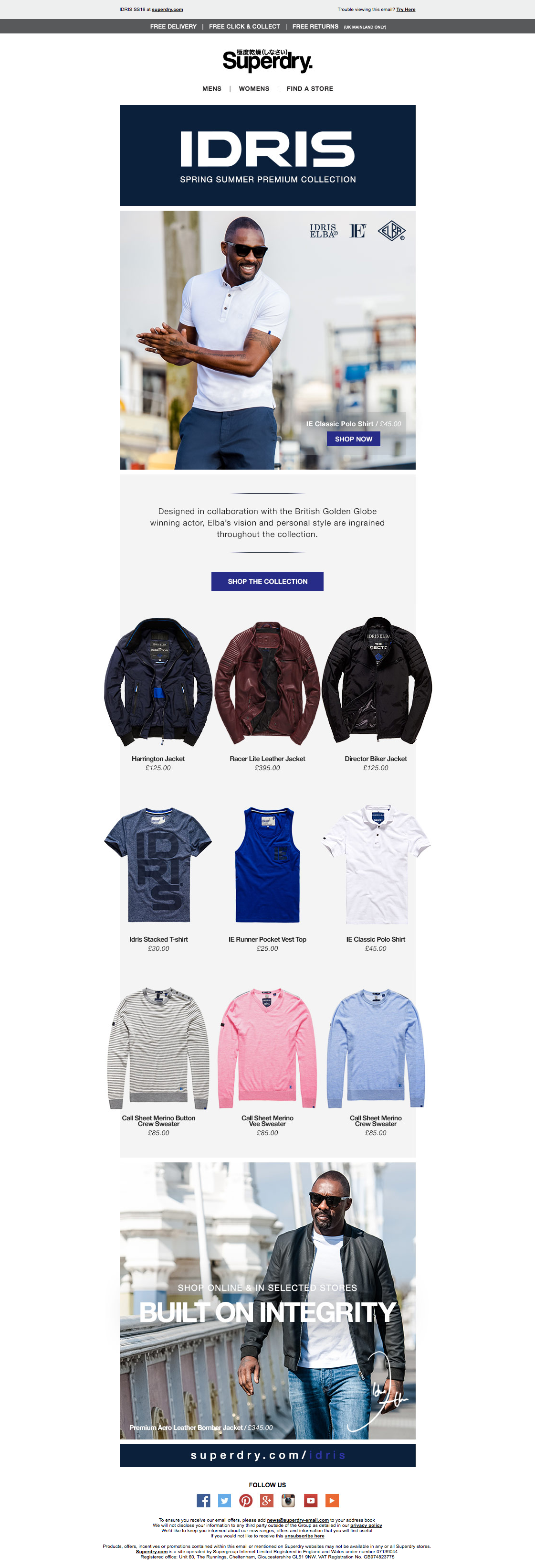 Superdry IDRIS SS16 Email / Newsletter Design