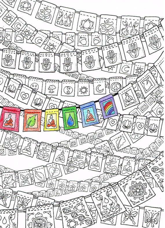 Coloring Page For Adults Prayer Flags Printable Art To Print