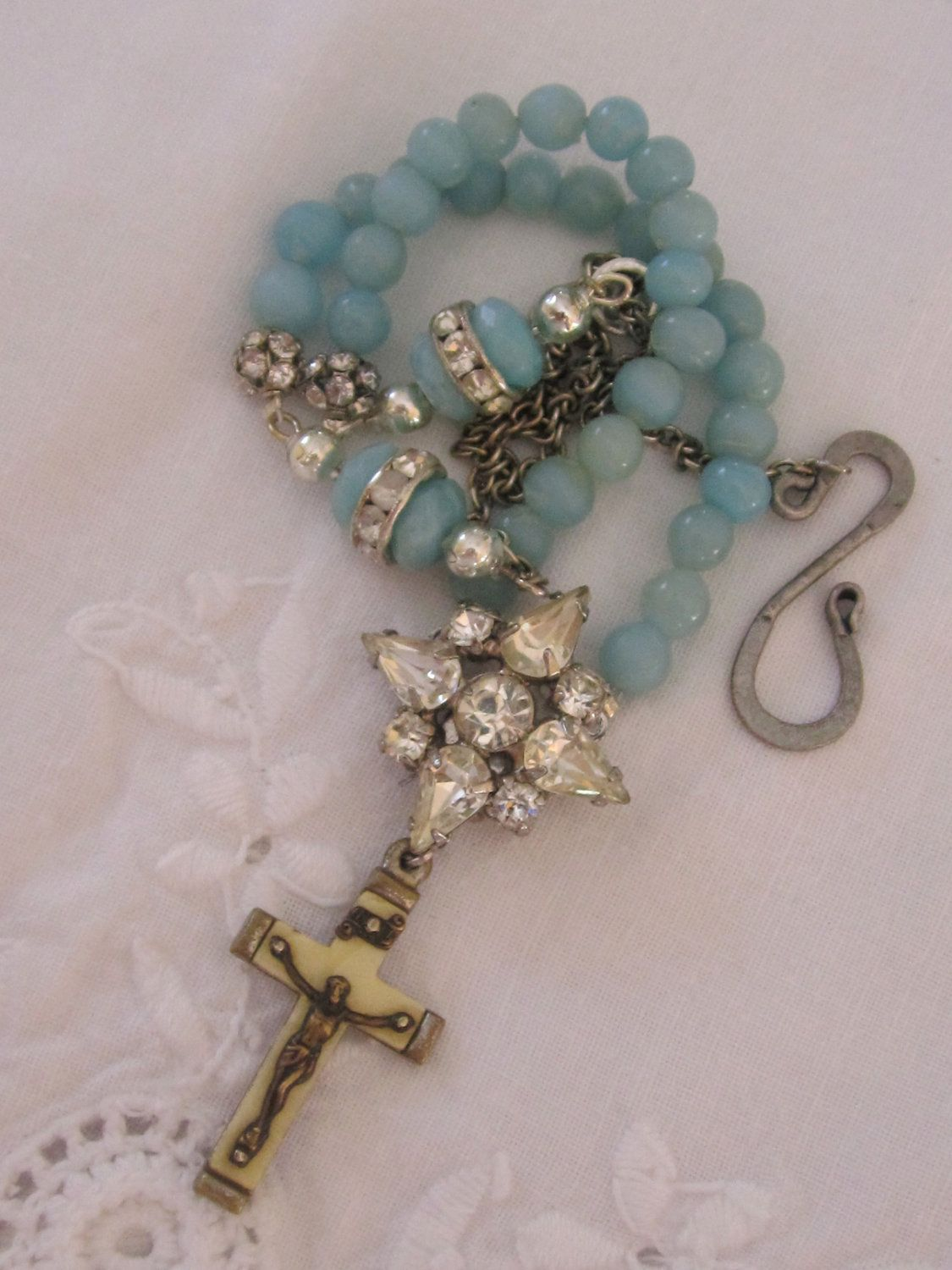 vintage repurposed assemblage jewelry necklace rosary crucifix rhinestone amazonite atelier paris. $125.00, via Etsy.