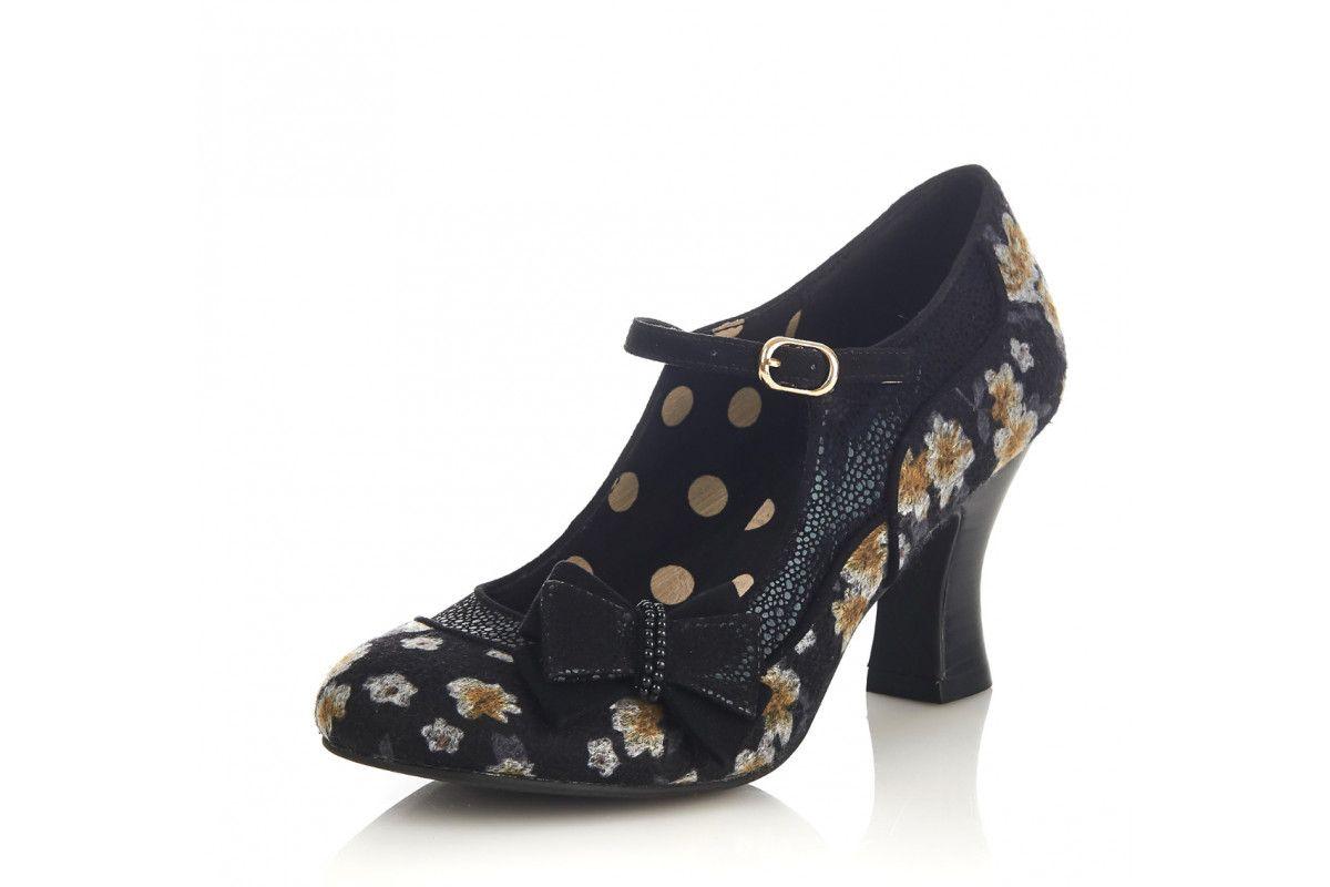 21c8ea0b Ruby Shoo Camilla Black Yellow Floral High Heel Mary Jane Shoes ...