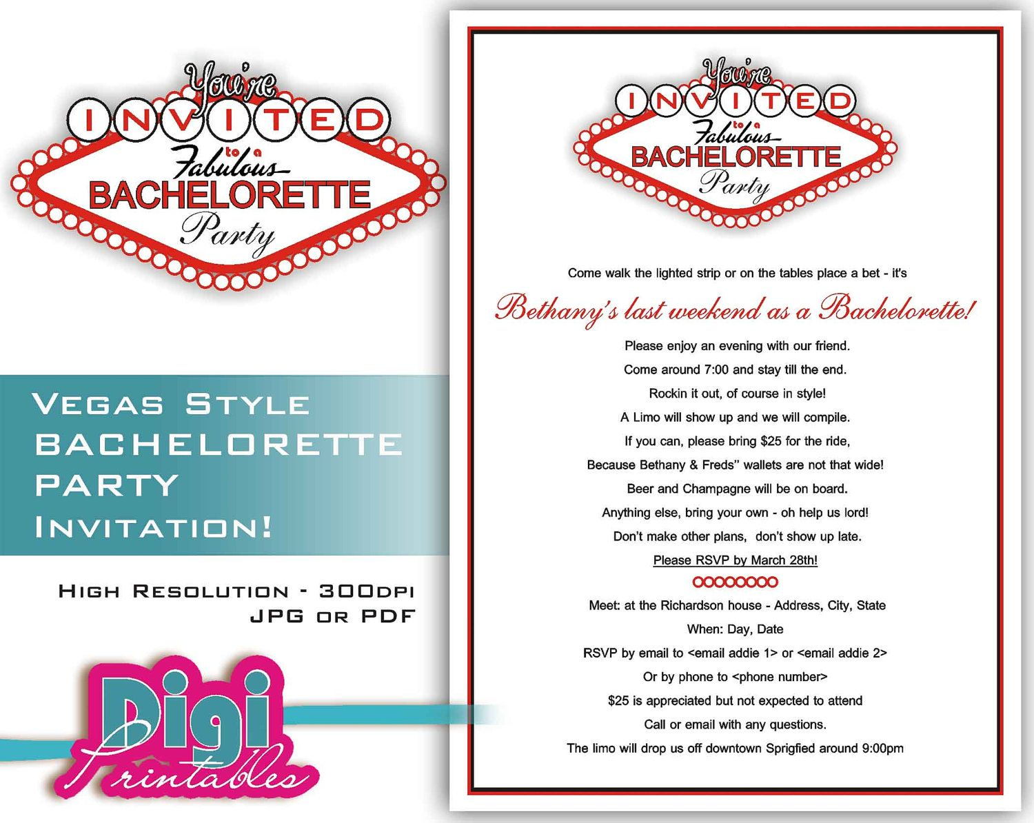 Las Vegas Wedding Invitation Wording: Bachelorette Party Invitation Las Vegas By Digiprintables