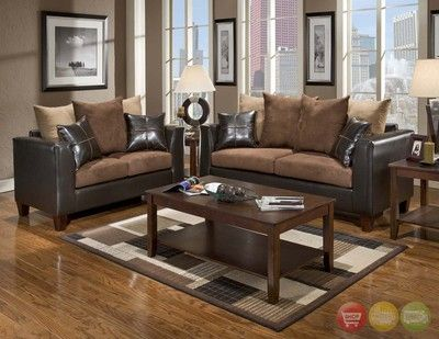Casual Contemporary Chocolate Brown Sofa Love Seat Living Room Furniture Set