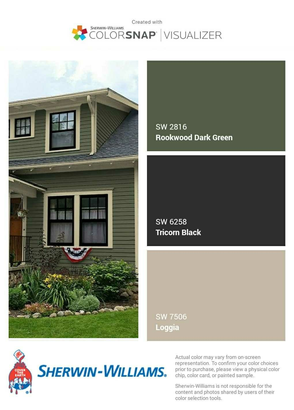 I Just Created This Color Palette With The Sherwin Williams Colorsnap Visualizer App On House Paint Exterior Green House Exterior Green Exterior House Colors