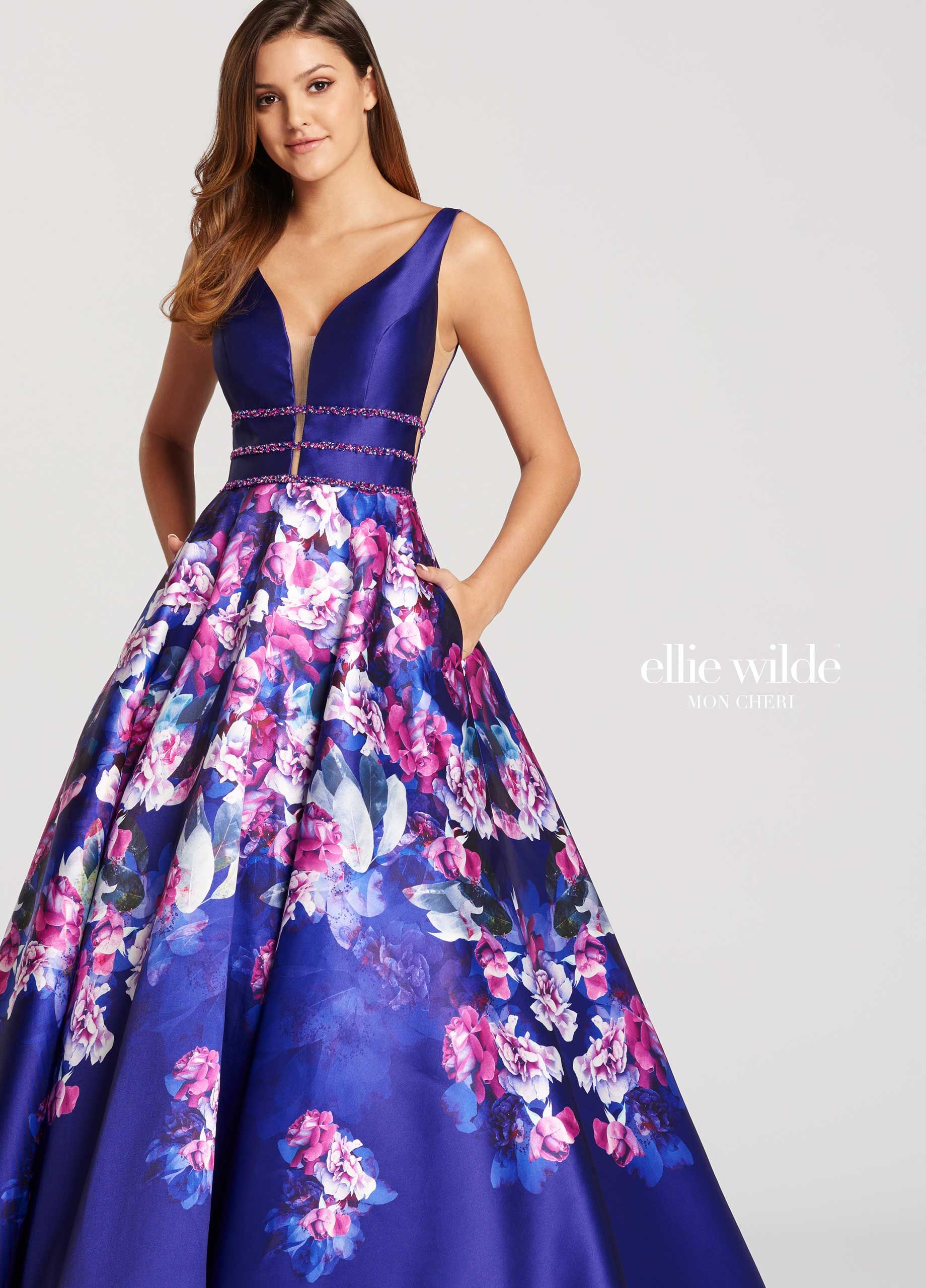1c881cf86c3 Ellie Wilde EW118006 - Sleeveless A line printed Mikado prom dress features  plunging V neckline with illusion inset