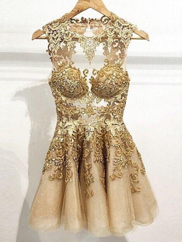 Kurz Tüll Abschlusskleider Abiballkleider gold | Kleider | Pinterest ...