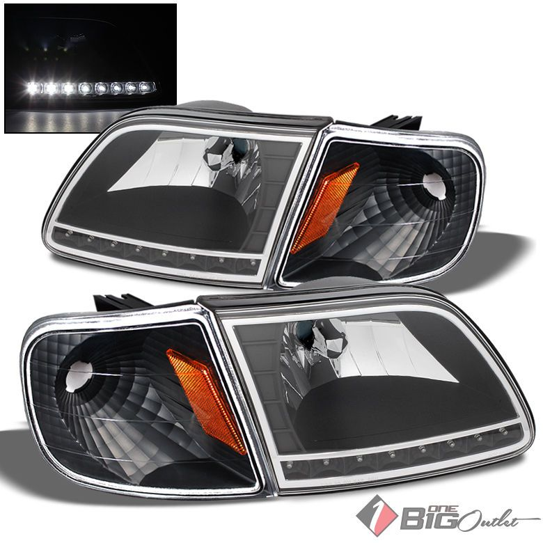 For 97 03 F150 97 02 Expedition Led Blk Headlights Corner Head Lights Lamp Pair F150 Ford F150 Accessories Lamp Light
