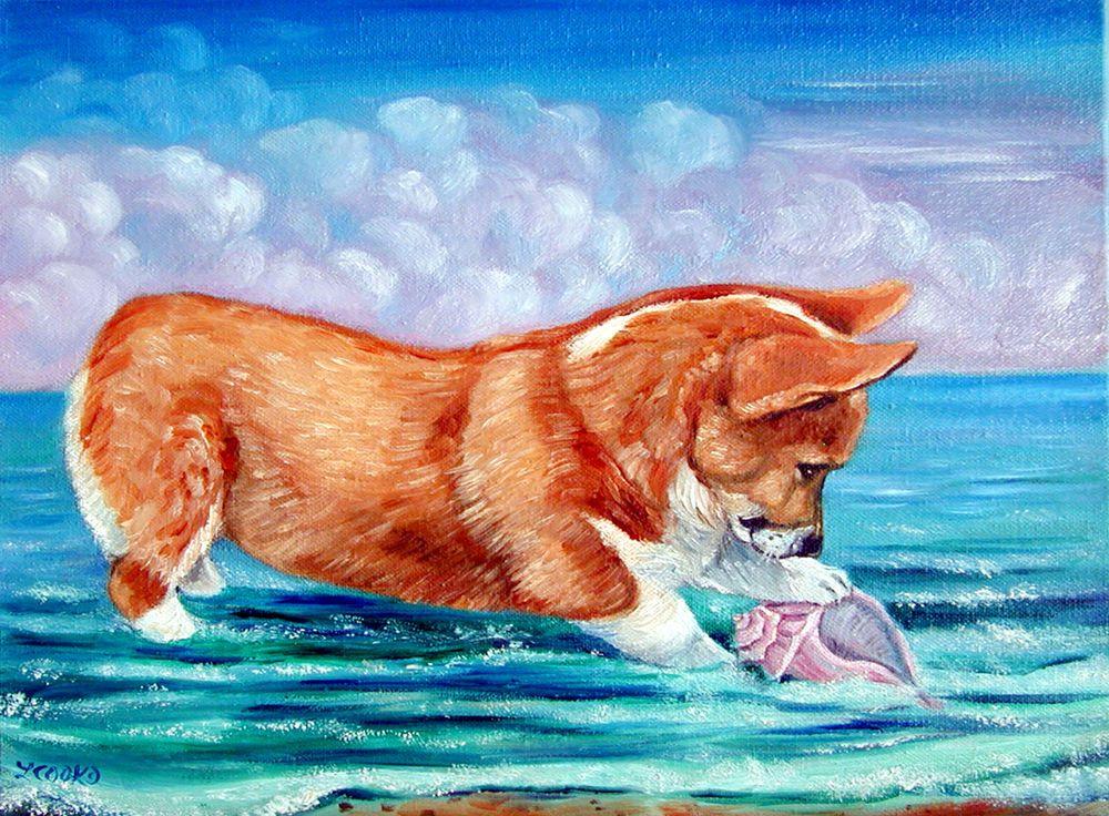 Pembroke Welsh Corgi Puppy Dog Original Art Oil Painting