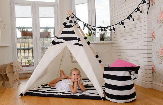 Kids Teepee  Tent  Play House  Black and White door MikiTeepee