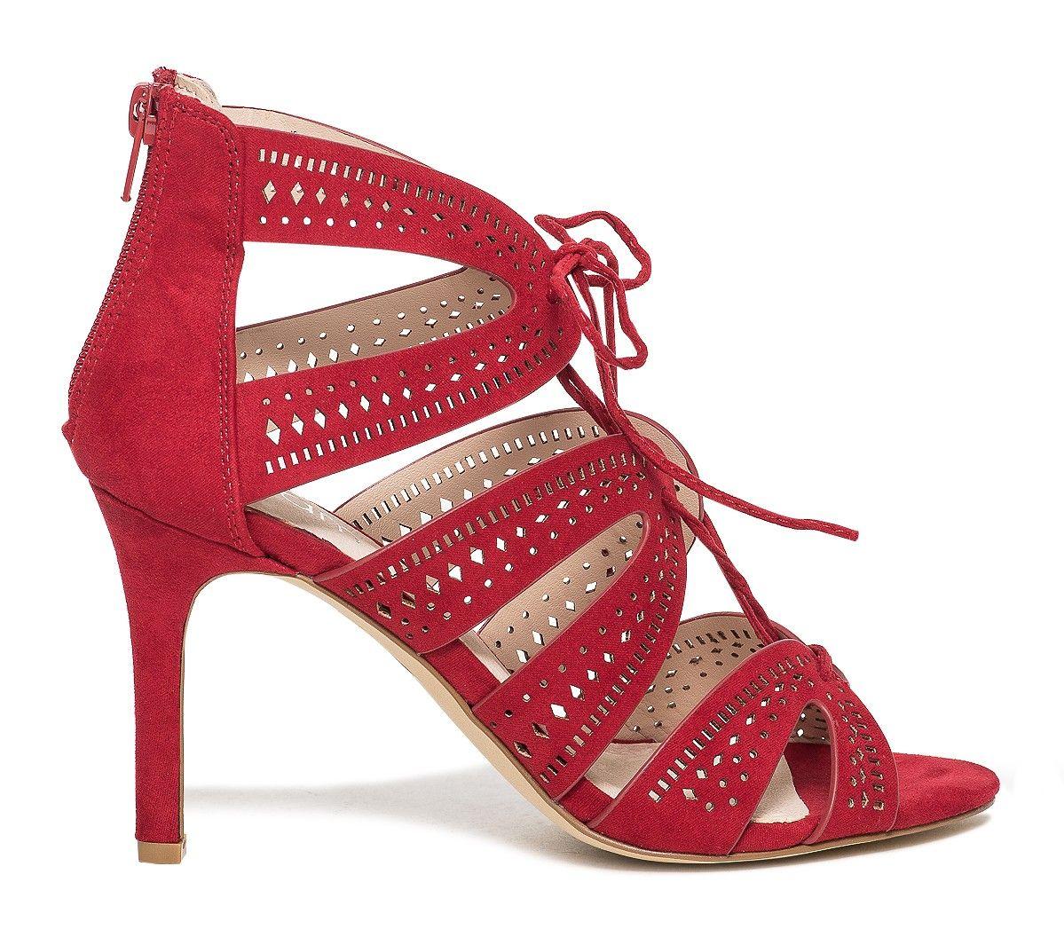 LEIT Talons Hauts Femmes Dentelle Rouge Chaussures Femme Pearl,39,Red