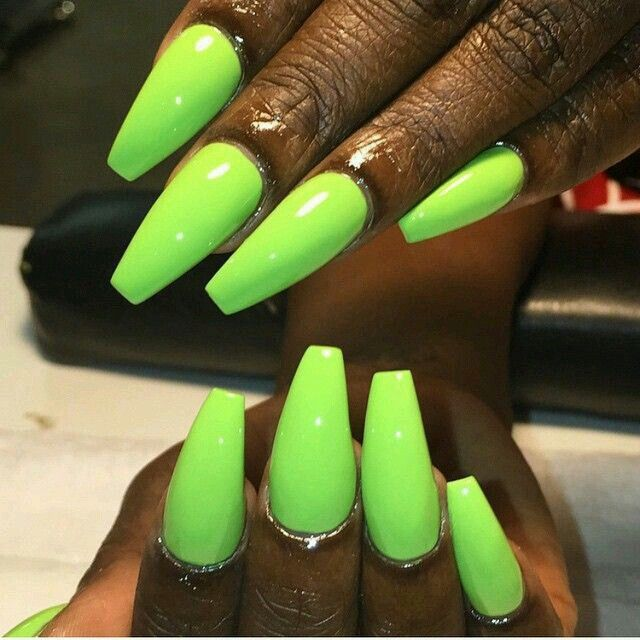 Neon Coffin Nails | nails | Pinterest