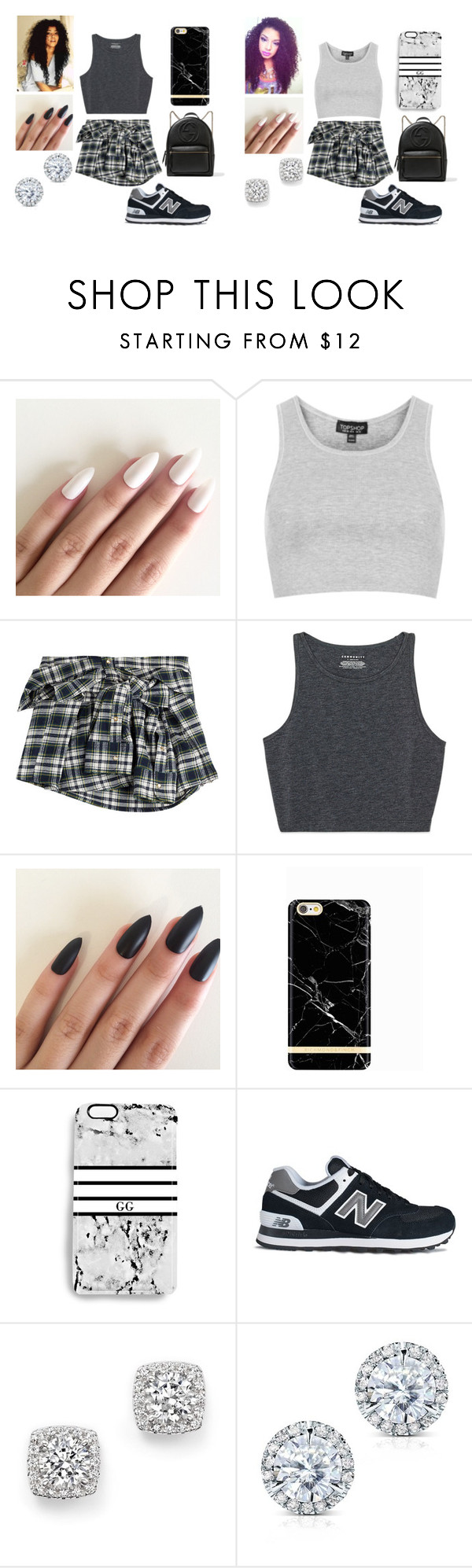 """Summer Vacation"" by aminataremy ❤ liked on Polyvore featuring Topshop, Faith Connexion, Richmond & Finch, Rianna Phillips, New Balance, Bloomingdale's, Kobelli and Gucci"