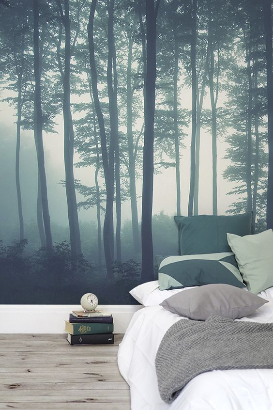 Discover Calming Interior Design With A Moody Forest Wallpaper Featuring Sea Of Trees In