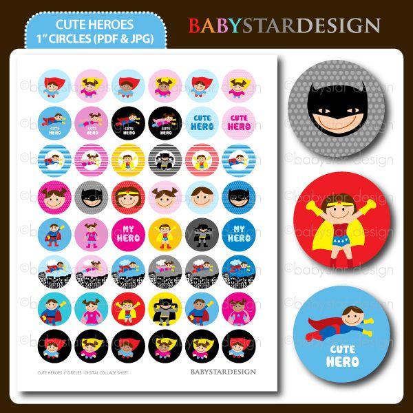 Cute Heroes - 1 Inch Circles