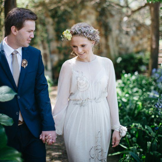 This bride wore her great-grandmother's wedding gown - such a lovely vintage touch to this natural rustic wedding. (Kikitography)