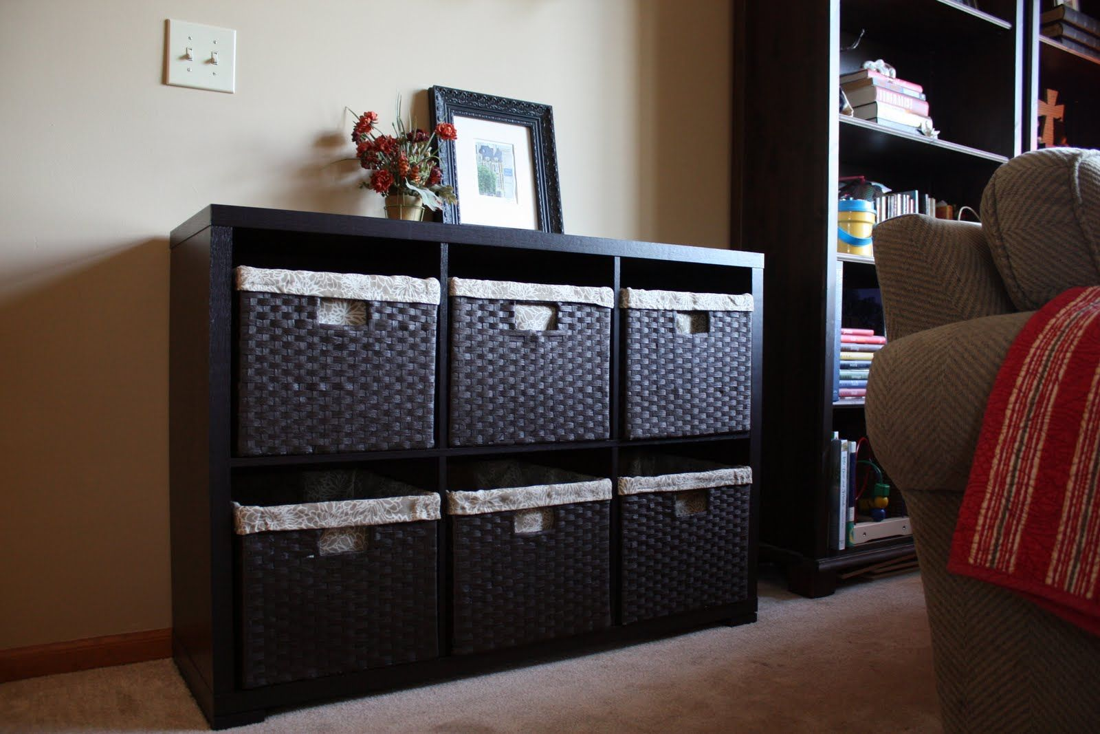 toys storage furniture. Low Basket Storage That Could Be Placed Between 2 Book Cases For In Toy Room Toys Furniture
