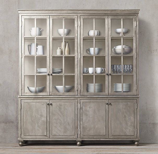 Annecy Metal-Wrapped 4-Door Glass Sideboard & Hutch - Annecy Metal-Wrapped 4-Door Glass Sideboard & Hutch Wall Units