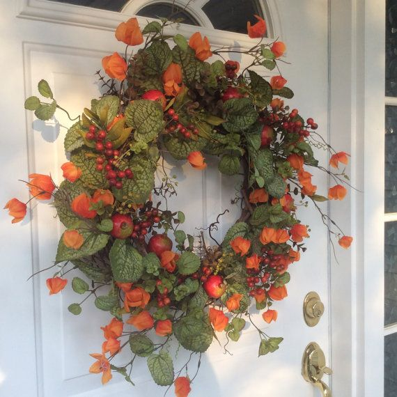 Autumn Wreaths Fall Wreaths Front Door Decor Chinese Lanterns Fall Leaves