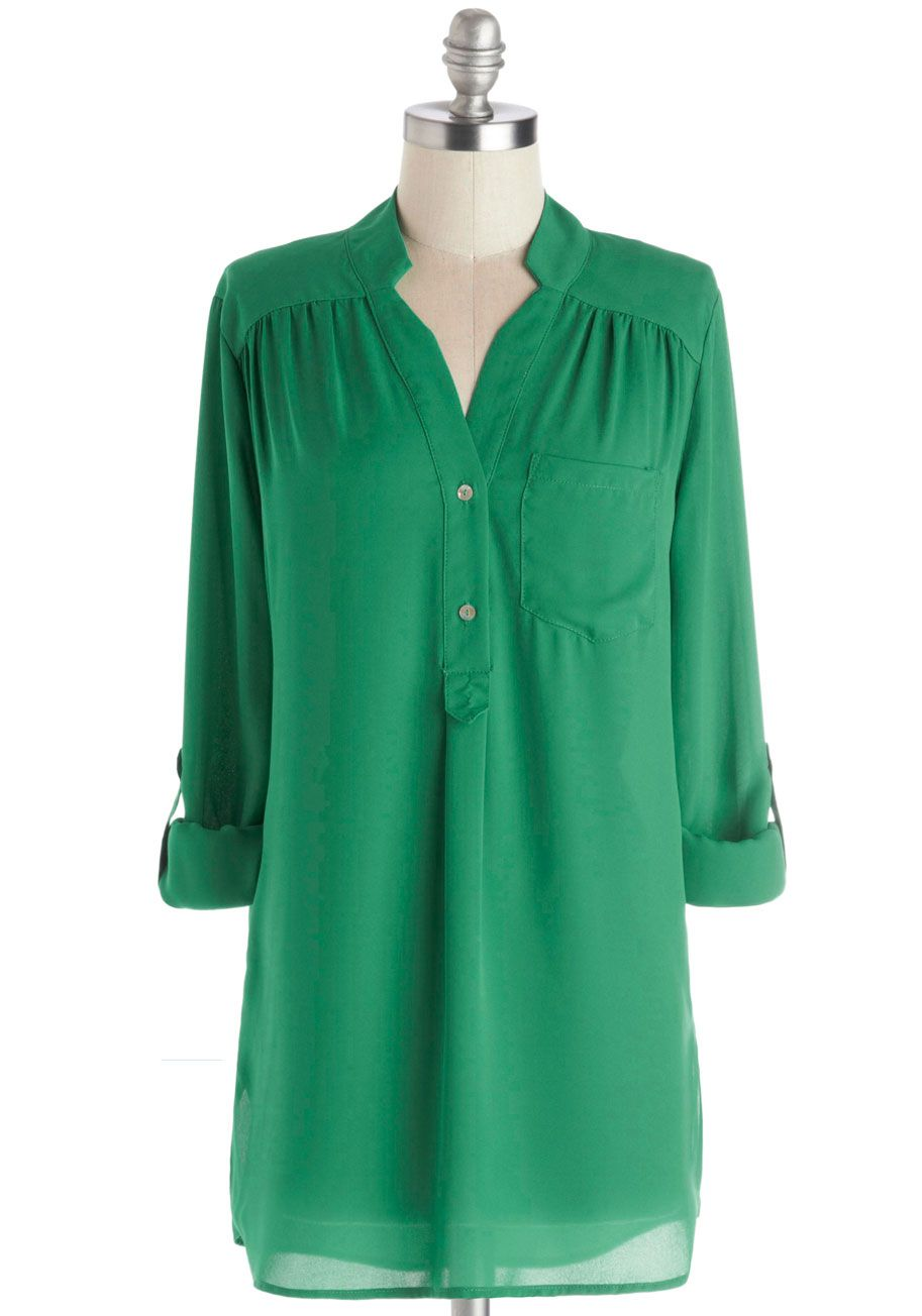 261adf3e8 Pam Breeze-ly Tunic in Green. The Pam Breeze-ly Top is back and better than  ever! #green #modcloth
