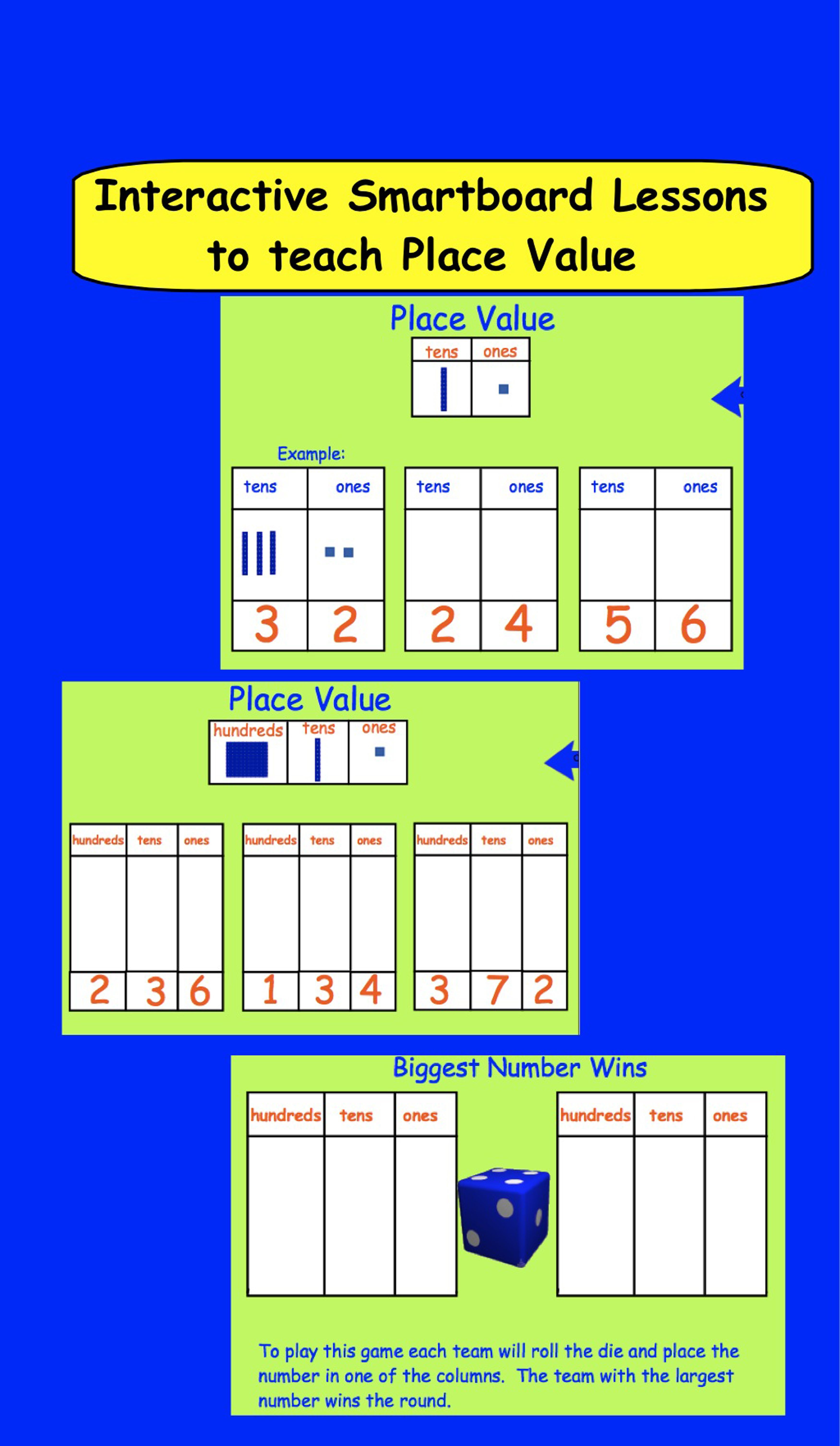 Smartboard Interactive Place Value Lessons And Printable