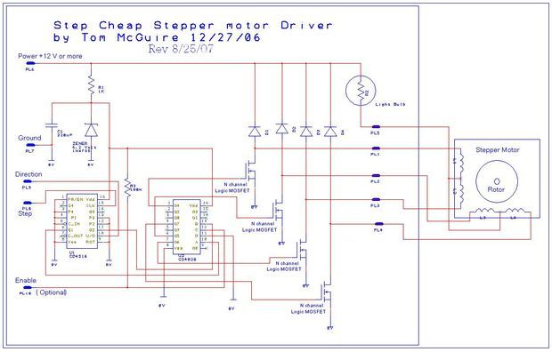 Easy to Build CNC Mill Stepper Motor and Driver Circuits