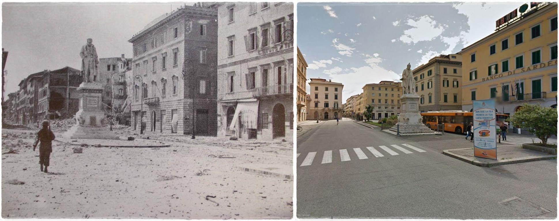 #Livorno Piazza Cavour  distrutta dai bombardamenti. #LUGLIO1944