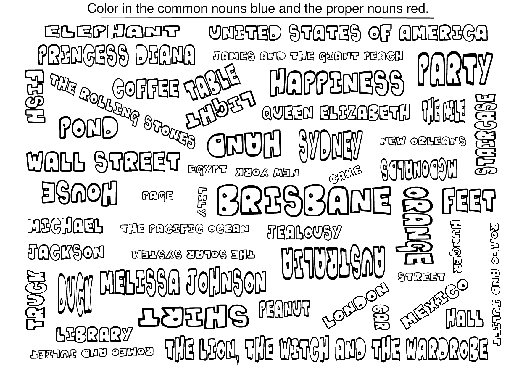 Common And Proper Nouns Coloring Sheets