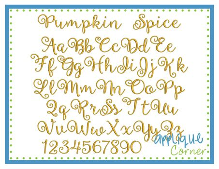 """#2450 Pumpkin Spice Embroidery Font These letters come in  .5"""", .75"""", 1"""", 1.5"""", 2"""", 2.5"""" sizes"""