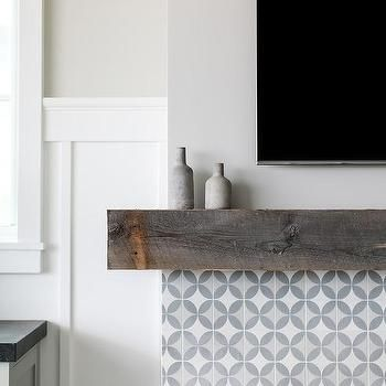 Cement Tile Fireplace With Rustic Mantle Fireplace Tile Fireplace Design Tile Around Fireplace