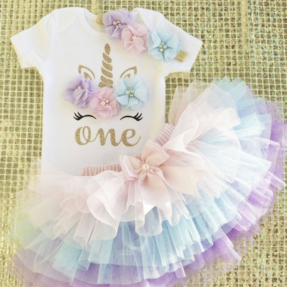 Baby Girl 1st Birthday Party Dress Outfits Sets Blush Pink Infant Clothes Suits