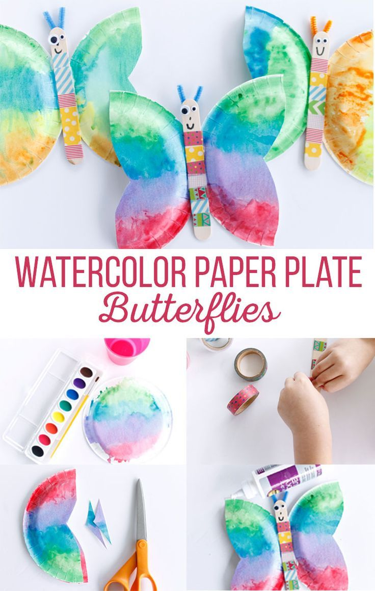 Watercolor Paper Plate Butterflies Butterfly Crafts Spring