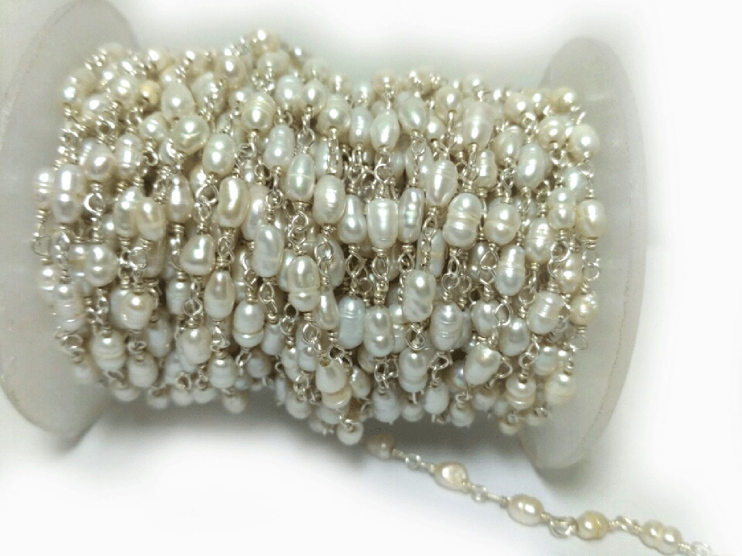 1 Feet Wholesale Rise Pearl Wire Wrapped 925 Silver Polished Chain - Pearl Beads Rosary Style Chain, Rosary jewelry making Chains By Foot