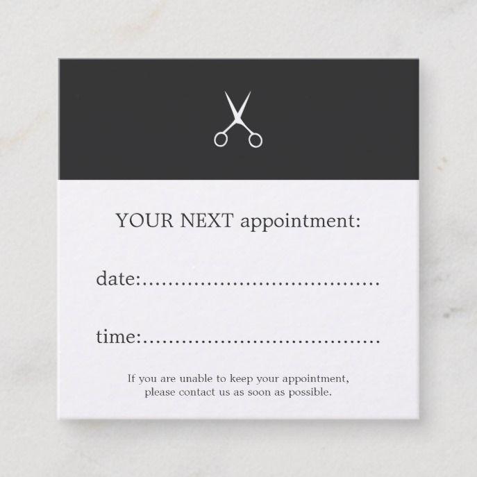 Simple Elegant Dark Grey White Scissors Hair Appointment Card