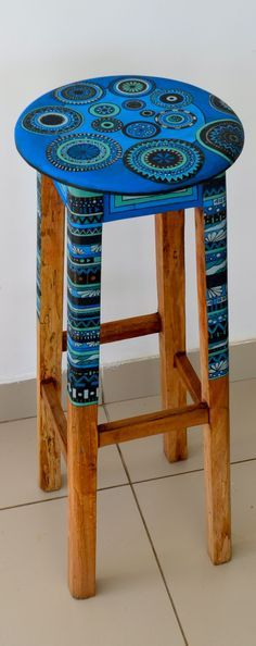 Hand Painted Wooden Stool By HC Wood Design