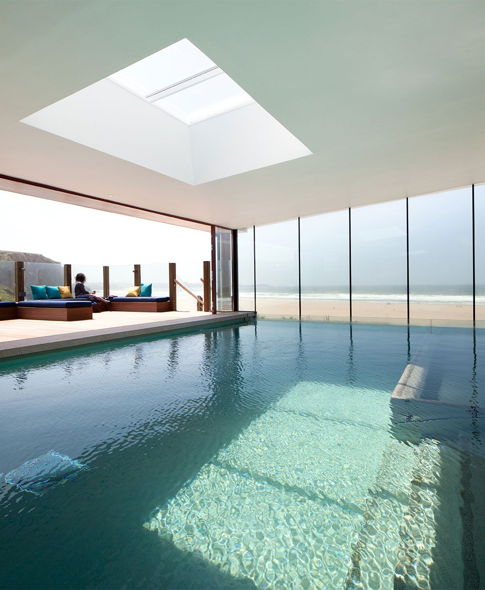Pool doors open onto the board walk watergate bay hotel - Hotels with swimming pools cornwall ...