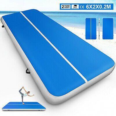 2X6M USA Stock Air Track Floor Home Gymnastics Tumbling Mats Inflatable GYM #health #fitness #workou...