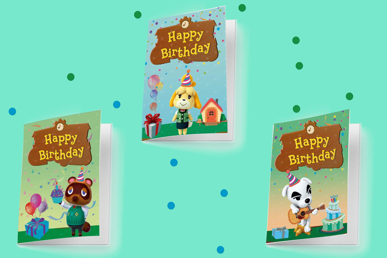 Animal Crossing Birthday Cards Printable Isabelle Villager Tom Nook K K Slider Custom Birthday Cards Birthday Card Printable Birthday Cards Printable Cards