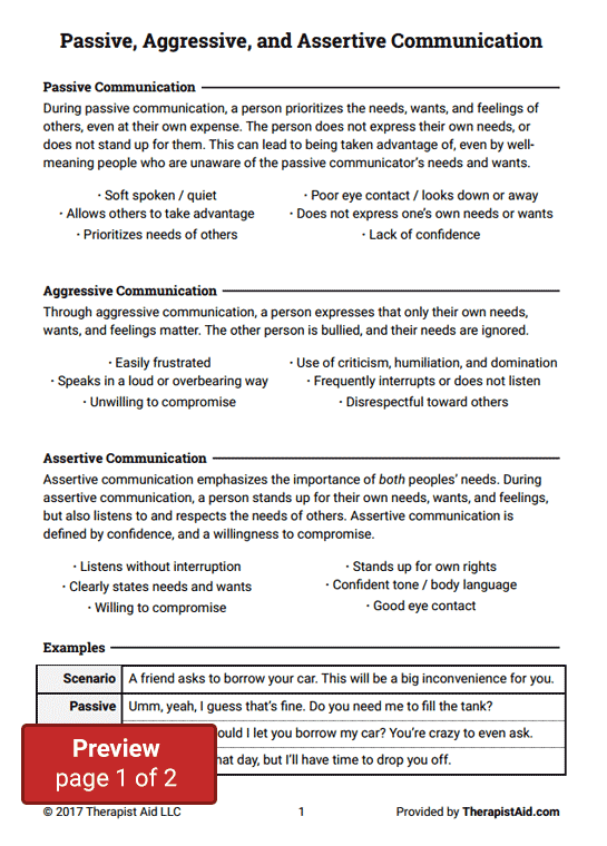 Passive, Aggressive, and Assertive Communication (Worksheet) | Therapist Aid