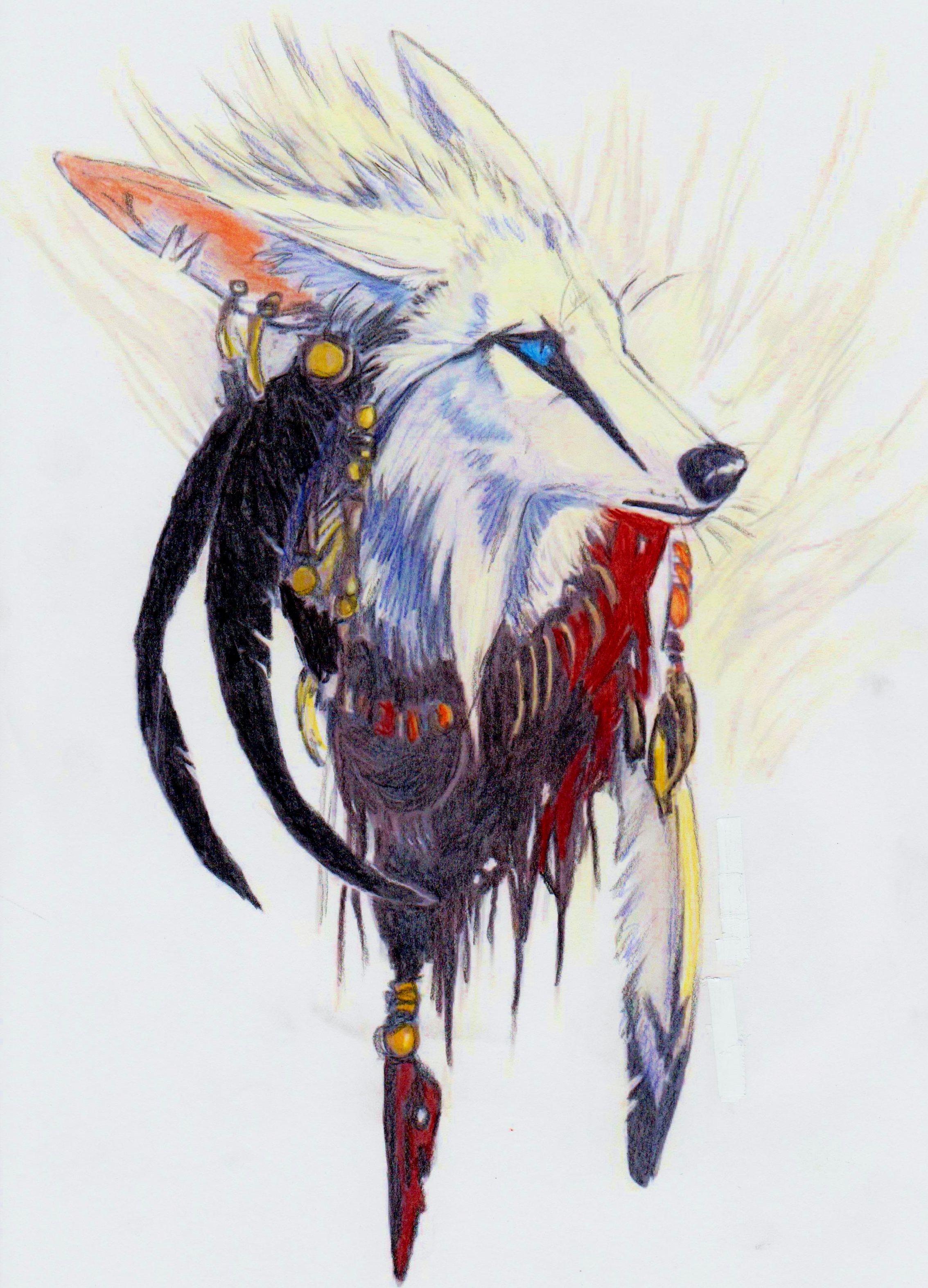 Картинка волка с перьями