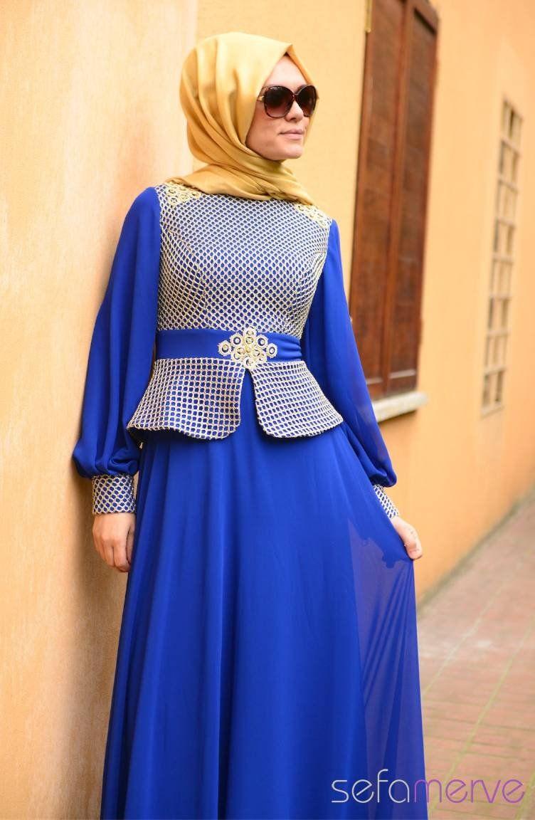 Sefamerve Tesettur Abiye Elbiseler Pdy 4275 05 Saks Elbiseler Abaya Tarzi Moda Stilleri