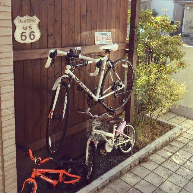 Yokoko45さんの ナンバープレート 自転車壁掛け 自転車 Diy 自転車