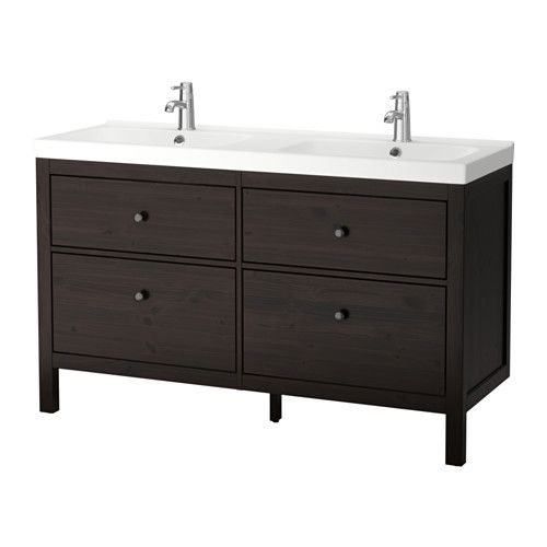 hemnes odensvik meuble pour lavabo 4 tiroirs brun noir salle de bain sous sol lavabo. Black Bedroom Furniture Sets. Home Design Ideas