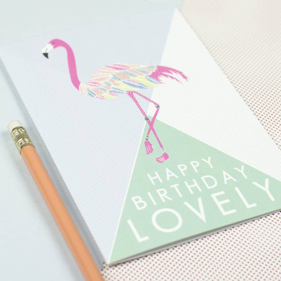 Happy birthday lovelyu flamingo card flamingo happy birthday and