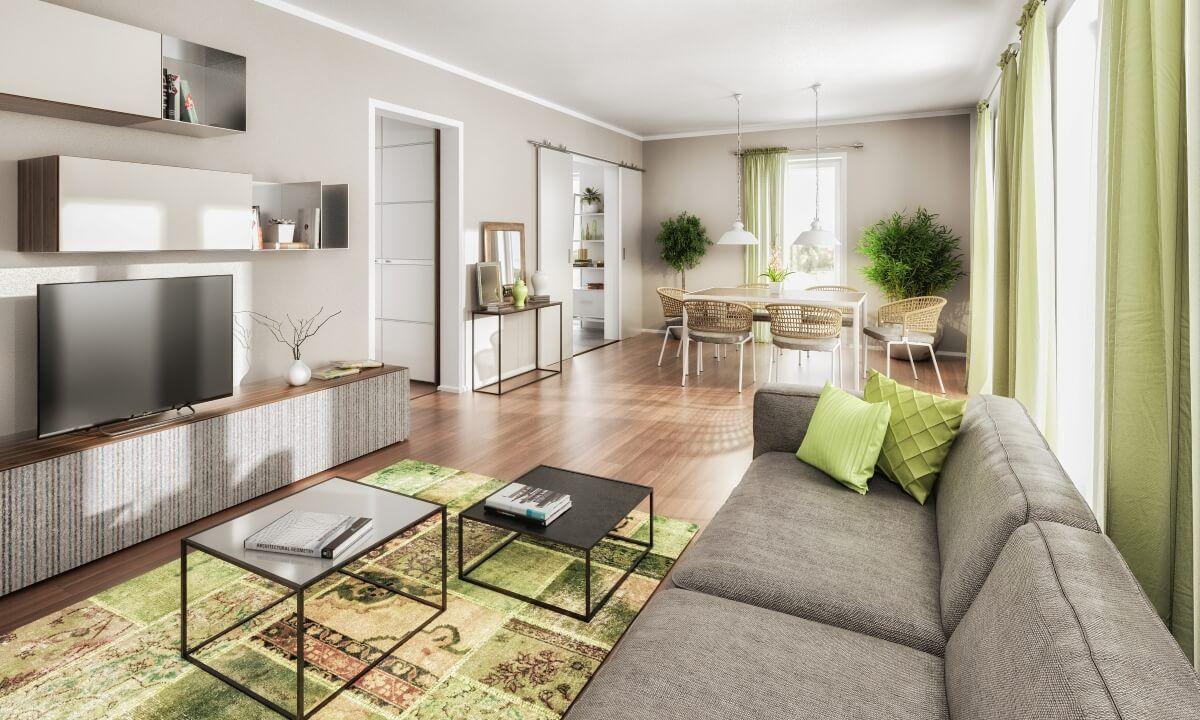 Wohnzimmer Modern   Ideen Inneneinrichtung Massivhaus BODENSEE 129 Style  Von Town U0026 Country Haus   HausbauDirekt.de